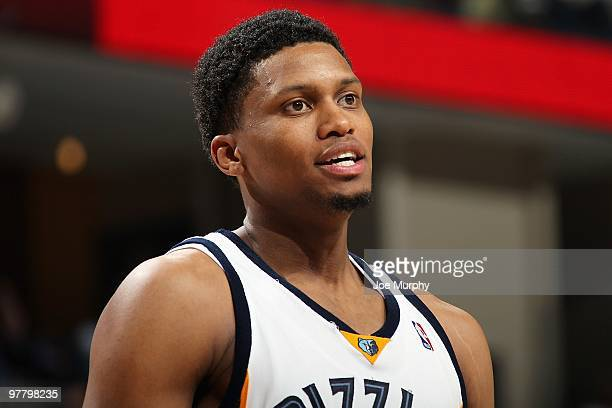 Rudy Gay of the Memphis Grizzlies stands on the court during the game against the New Jersey Nets on March 8 2010 at FedExForum in Memphis Tennessee...