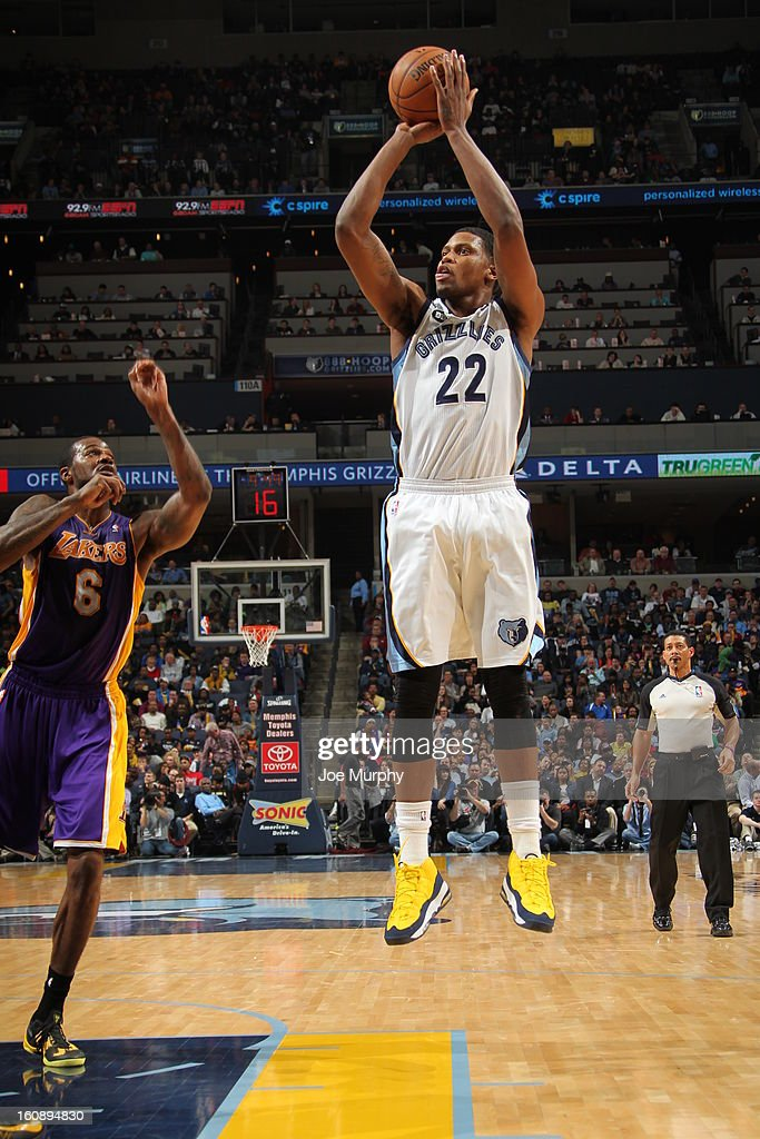 <a gi-track='captionPersonalityLinkClicked' href=/galleries/search?phrase=Rudy+Gay&family=editorial&specificpeople=236066 ng-click='$event.stopPropagation()'>Rudy Gay</a> #22 of the Memphis Grizzlies takes a shot against the Los Angeles Lakers on January 23, 2013 at FedExForum in Memphis, Tennessee.