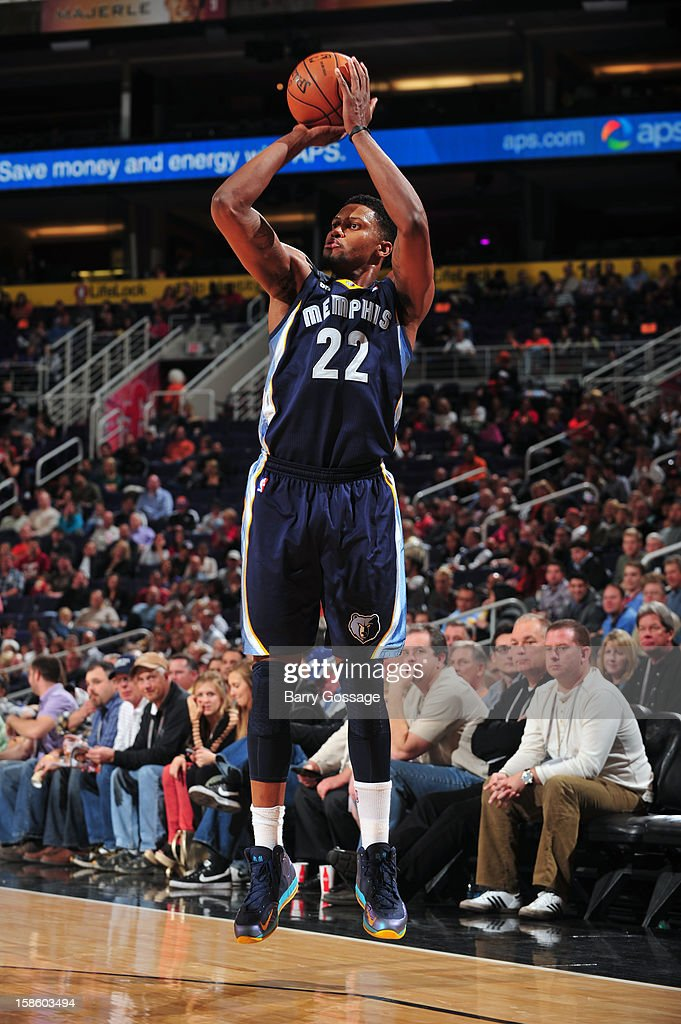 <a gi-track='captionPersonalityLinkClicked' href=/galleries/search?phrase=Rudy+Gay&family=editorial&specificpeople=236066 ng-click='$event.stopPropagation()'>Rudy Gay</a> #22 of the Memphis Grizzlies takes a shot against the Phoenix Suns on December 12, 2012 at U.S. Airways Center in Phoenix, Arizona.