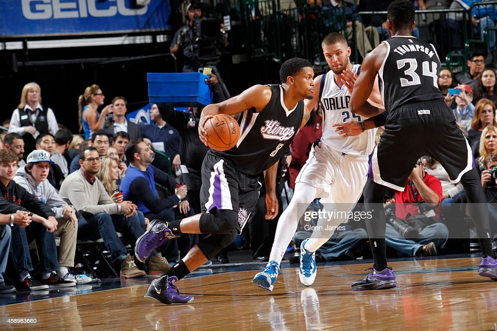 Rudy Gay #8 of the Sacaramento Kings handles the ball against the Dallas Mavericks on November 11, 2014 at the American Airlines Center in Dallas, Texas.