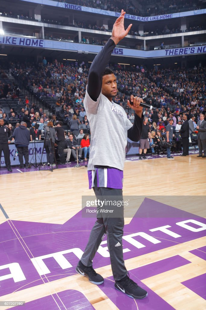 Rudy Gay #8 of the Sacramento Kings addresses fans prior to the game against the Oklahoma City Thunder on November 23, 2016 at Golden 1 Center in Sacramento, California.