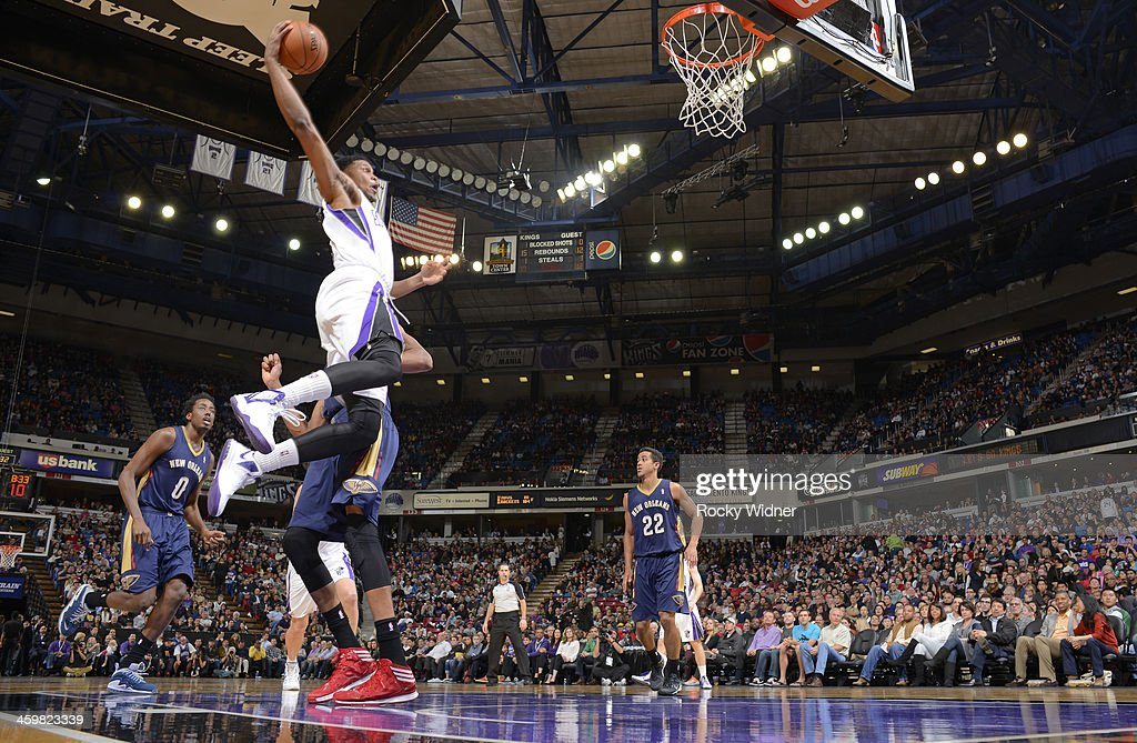 <a gi-track='captionPersonalityLinkClicked' href=/galleries/search?phrase=Rudy+Gay&family=editorial&specificpeople=236066 ng-click='$event.stopPropagation()'>Rudy Gay</a> #8 of the Sacramento Kings attempts a dunk against the New Orleans Pelicans on December 23, 2013 at Sleep Train Arena in Sacramento, California.