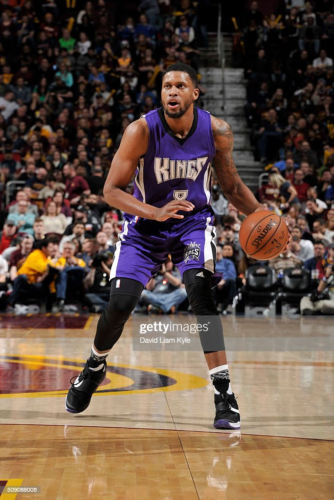 <a gi-track='captionPersonalityLinkClicked' href=/galleries/search?phrase=Rudy+Gay&family=editorial&specificpeople=236066 ng-click='$event.stopPropagation()'>Rudy Gay</a> #8 of the Sacramento Kings dribbles the ball against the Cleveland Cavaliers on February 8, 2016 at Quicken Loans Arena in Cleveland, Ohio.