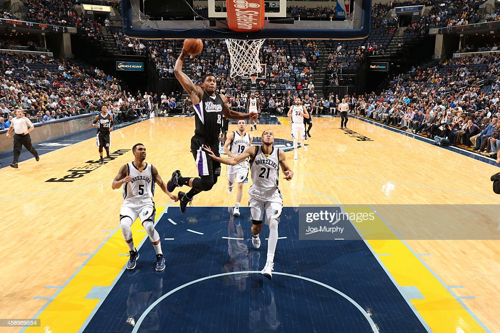<a gi-track='captionPersonalityLinkClicked' href=/galleries/search?phrase=Rudy+Gay&family=editorial&specificpeople=236066 ng-click='$event.stopPropagation()'>Rudy Gay</a> #8 of the Sacramento Kings drives to the basket against the Memphis Grizzlies on November 13, 2014 at FedExForum in Memphis, Tennessee.