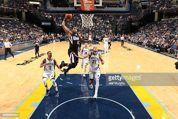 Rudy Gay of the Sacramento Kings drives to the basket against the Memphis Grizzlies on November 13 2014 at FedExForum in Memphis Tennessee NOTE TO...