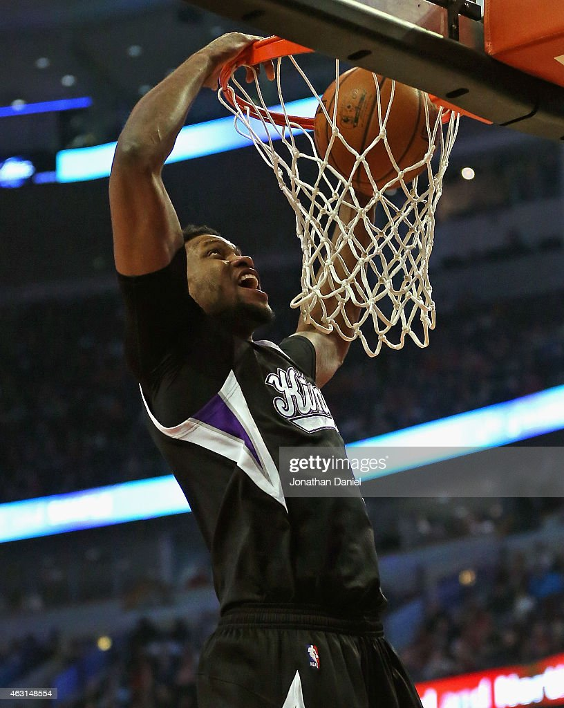 <a gi-track='captionPersonalityLinkClicked' href=/galleries/search?phrase=Rudy+Gay&family=editorial&specificpeople=236066 ng-click='$event.stopPropagation()'>Rudy Gay</a> #8 of the Sacramento Kings dunks against the Chicago Bulls at United Center on February 10, 2015 in Chicago, Illinois.