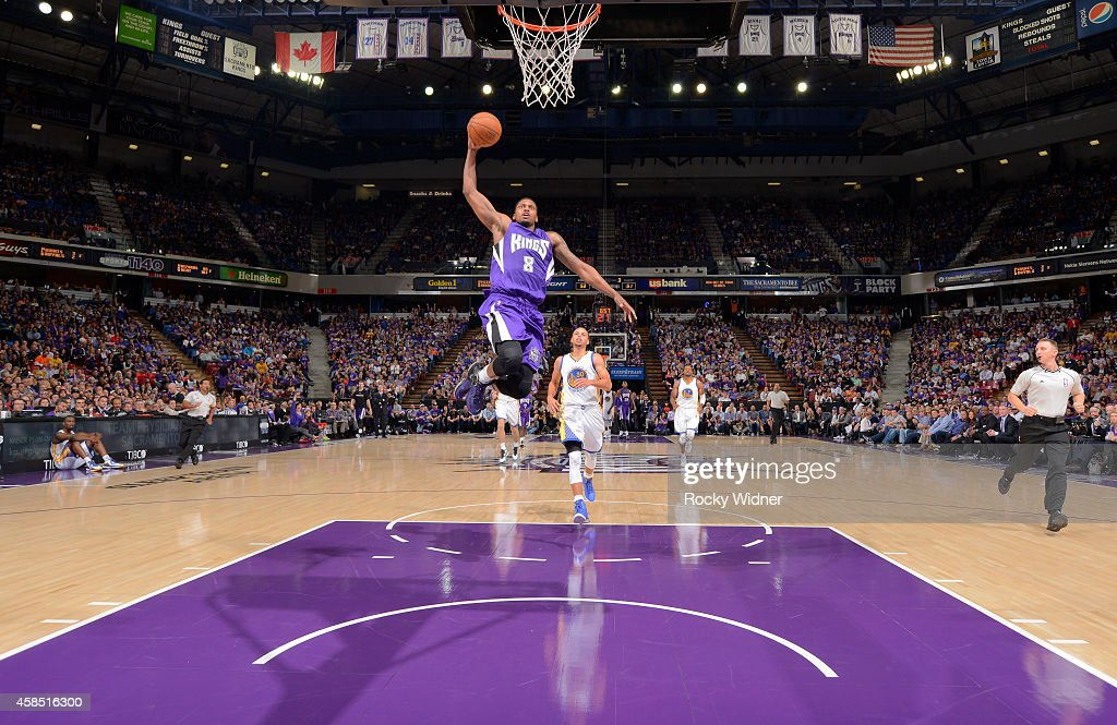 <a gi-track='captionPersonalityLinkClicked' href=/galleries/search?phrase=Rudy+Gay&family=editorial&specificpeople=236066 ng-click='$event.stopPropagation()'>Rudy Gay</a> #8 of the Sacramento Kings dunks against the Golden State Warriors on October 29, 2014 at Sleep Train Arena in Sacramento, California.