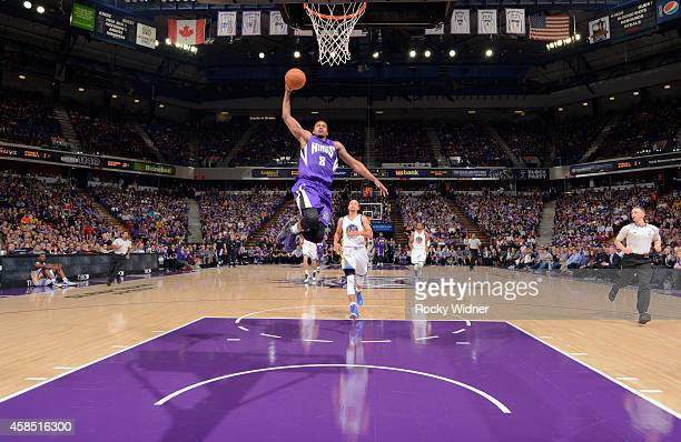 Rudy Gay of the Sacramento Kings dunks against the Golden State Warriors on October 29 2014 at Sleep Train Arena in Sacramento California NOTE TO...