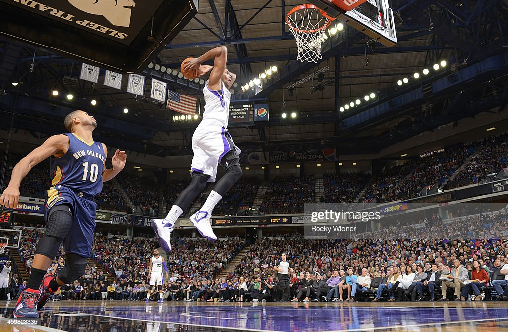 <a gi-track='captionPersonalityLinkClicked' href=/galleries/search?phrase=Rudy+Gay&family=editorial&specificpeople=236066 ng-click='$event.stopPropagation()'>Rudy Gay</a> #8 of the Sacramento Kings dunks against the New Orleans Pelicans on December 23, 2013 at Sleep Train Arena in Sacramento, California.