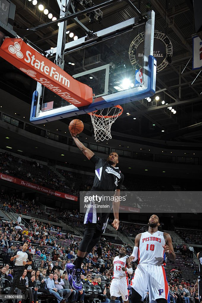 <a gi-track='captionPersonalityLinkClicked' href=/galleries/search?phrase=Rudy+Gay&family=editorial&specificpeople=236066 ng-click='$event.stopPropagation()'>Rudy Gay</a> #8 of the Sacramento Kings dunks the ball against the Detroit Pistons during the game on March 11, 2014 at The Palace of Auburn Hills in Auburn Hills, Michigan.