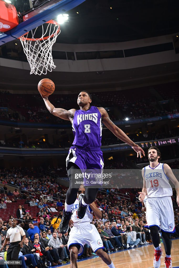 <a gi-track='captionPersonalityLinkClicked' href=/galleries/search?phrase=Rudy+Gay&family=editorial&specificpeople=236066 ng-click='$event.stopPropagation()'>Rudy Gay</a> #8 of the Sacramento Kings goes up for the dunk against the Philadelphia 76ers at Wells Fargo Center on March 13, 2015 in Philadelphia, Pennsylvania