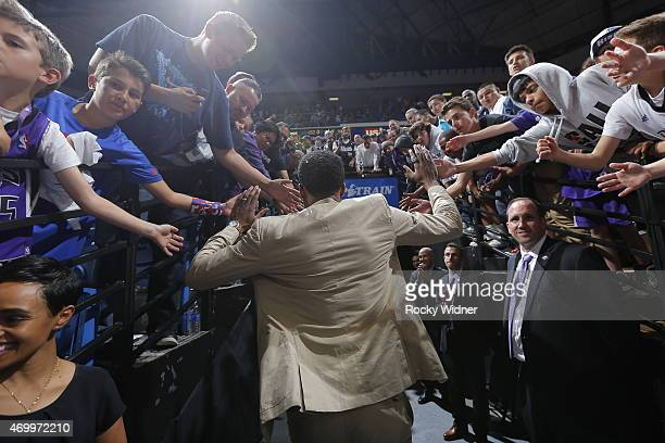 Rudy Gay of the Sacramento Kings greets fans while heading into the tunnel after the game against the Los Angeles Lakers on April 13 2015 at Sleep...