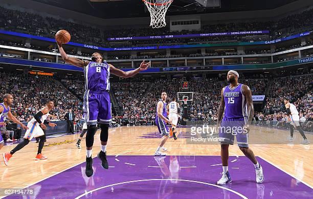 Rudy Gay of the Sacramento Kings rebounds against the Oklahoma City Thunder on November 23 2016 at Golden 1 Center in Sacramento California NOTE TO...