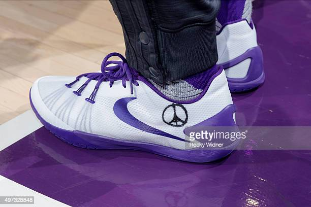 Rudy Gay of the Sacramento Kings shows his support for Paris against the Toronto Raptors at Sleep Train Arena on November 15 2015 in Sacramento...