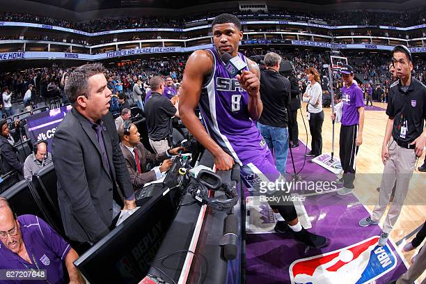 Rudy Gay of the Sacramento Kings speaks with media after defeating the Oklahoma City Thunder on November 23 2016 at Golden 1 Center in Sacramento...