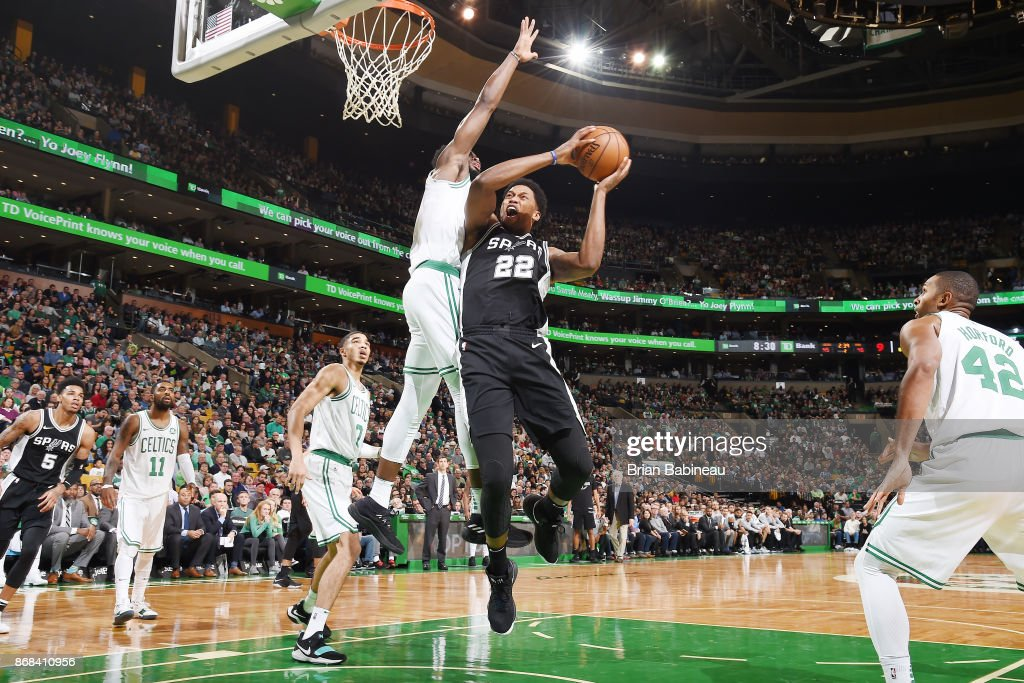 Rudy Gay #22 of the San Antonio Spurs drives to the basket against the Boston Celtics on October 30, 2017 at the TD Garden in Boston, Massachusetts.