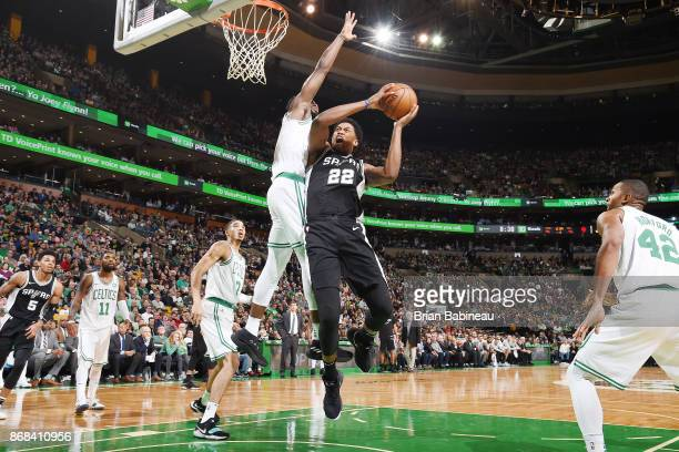 Rudy Gay of the San Antonio Spurs drives to the basket against the Boston Celtics on October 30 2017 at the TD Garden in Boston Massachusetts NOTE TO...