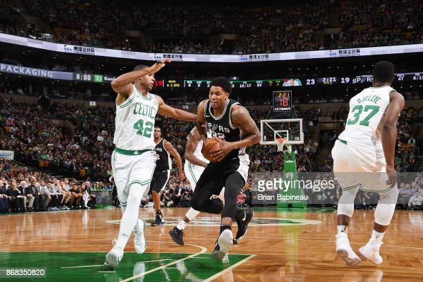Rudy Gay of the San Antonio Spurs handles the ball against the Boston Celtics on October 30 2017 at the TD Garden in Boston Massachusetts NOTE TO...