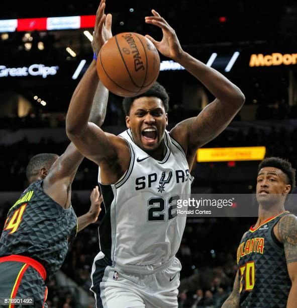 Rudy Gay of the San Antonio Spurs loses control of the ball against the Atlanta Hawks at ATT Center on November 20 2017 in San Antonio Texas NOTE TO...