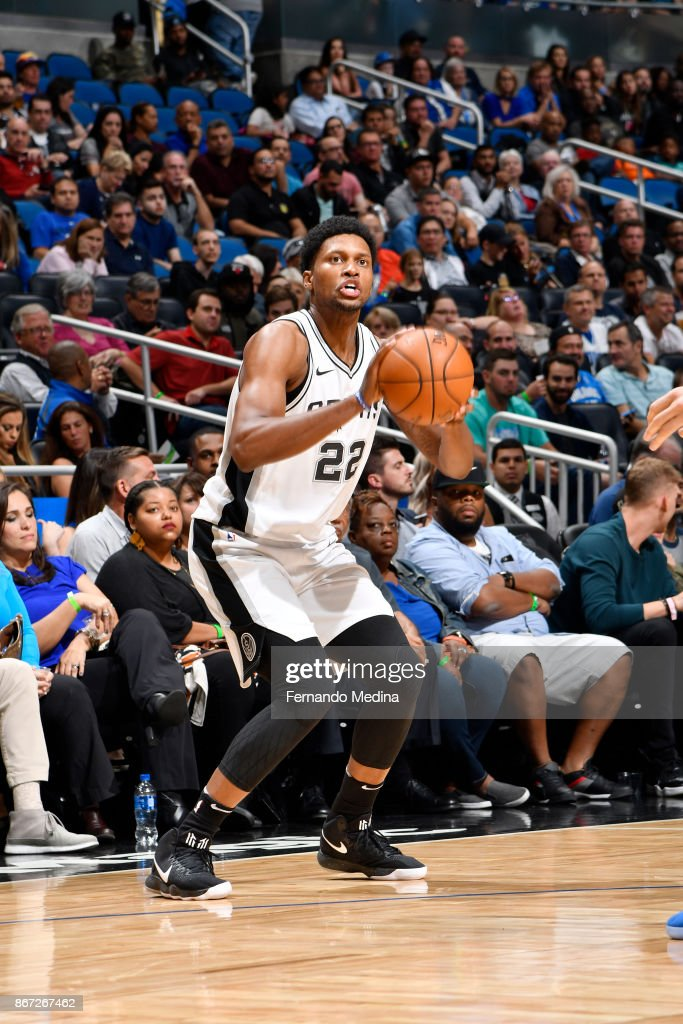 Rudy Gay #22 of the San Antonio Spurs shoots the ball against the Orlando Magic on October 27, 2017 at Amway Center in Orlando, Florida.