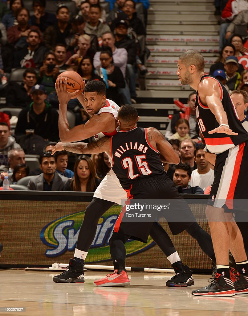 <a gi-track='captionPersonalityLinkClicked' href=/galleries/search?phrase=Rudy+Gay&family=editorial&specificpeople=236066 ng-click='$event.stopPropagation()'>Rudy Gay</a> #22 of the Toronto Raptors against the Portland Trail Blazers during the game on November 17, 2013 at the Air Canada Centre in Toronto, Ontario, Canada.