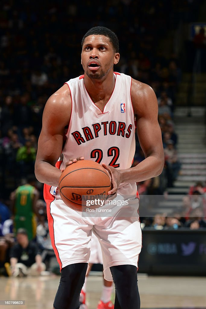 <a gi-track='captionPersonalityLinkClicked' href=/galleries/search?phrase=Rudy+Gay&family=editorial&specificpeople=236066 ng-click='$event.stopPropagation()'>Rudy Gay</a> #22 of the Toronto Raptors attempts a foul shot against the New Orleans Hornets on February 10, 2013 at the Air Canada Centre in Toronto, Ontario, Canada.