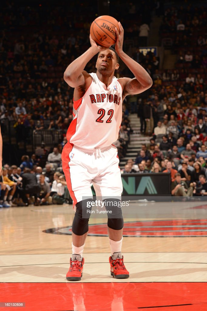 <a gi-track='captionPersonalityLinkClicked' href=/galleries/search?phrase=Rudy+Gay&family=editorial&specificpeople=236066 ng-click='$event.stopPropagation()'>Rudy Gay</a> #22 of the Toronto Raptors attempts a foul shot against the Denver Nuggets on February 12, 2013 at the Air Canada Centre in Toronto, Ontario, Canada.