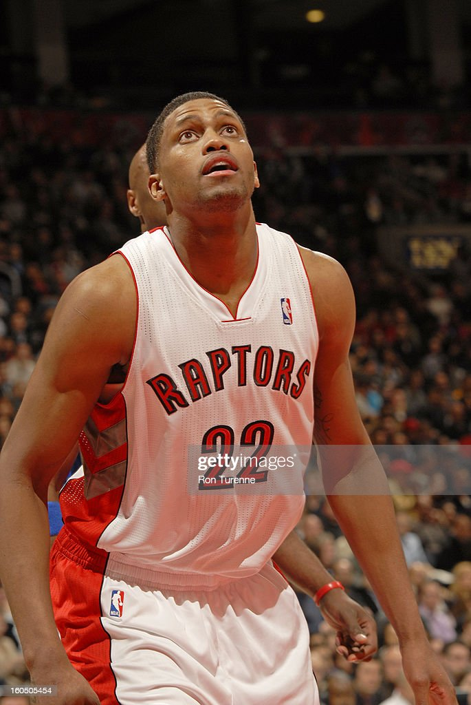 <a gi-track='captionPersonalityLinkClicked' href=/galleries/search?phrase=Rudy+Gay&family=editorial&specificpeople=236066 ng-click='$event.stopPropagation()'>Rudy Gay</a> #22 of the Toronto Raptors awaits a rebound against the Los Angeles Clippers on February 1, 2013 at the Air Canada Centre in Toronto, Ontario, Canada.