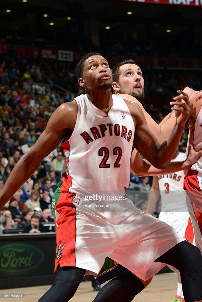 <a gi-track='captionPersonalityLinkClicked' href=/galleries/search?phrase=Rudy+Gay&family=editorial&specificpeople=236066 ng-click='$event.stopPropagation()'>Rudy Gay</a> #22 of the Toronto Raptors awaits a rebound against the New Orleans Hornets on February 10, 2013 at the Air Canada Centre in Toronto, Ontario, Canada.