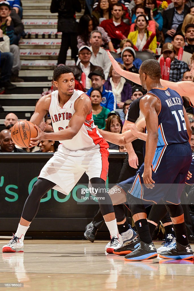 Rudy Gay #22 of the Toronto Raptors controls the ball against Kemba Walker #15 of the Charlotte Bobcats on March 15, 2013 at the Air Canada Centre in Toronto, Ontario, Canada.