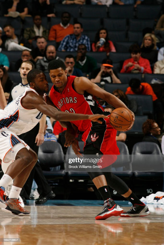 Rudy Gay #22 of the Toronto Raptors drives against Michael Kidd-Gilchrist #14 of the Charlotte Bobcats at the Time Warner Cable Arena on March 20, 2013 in Charlotte, North Carolina.