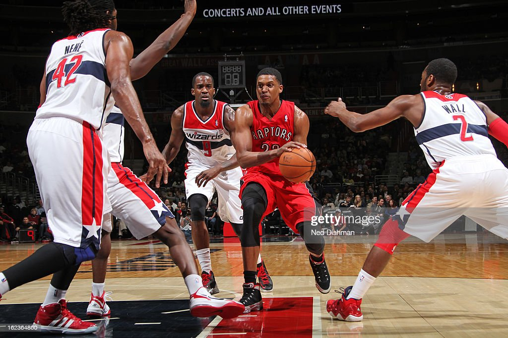 <a gi-track='captionPersonalityLinkClicked' href=/galleries/search?phrase=Rudy+Gay&family=editorial&specificpeople=236066 ng-click='$event.stopPropagation()'>Rudy Gay</a> #22 of the Toronto Raptors drives to the basket against the Washington Wizards at the Verizon Center on February 19, 2013 in Washington, DC.