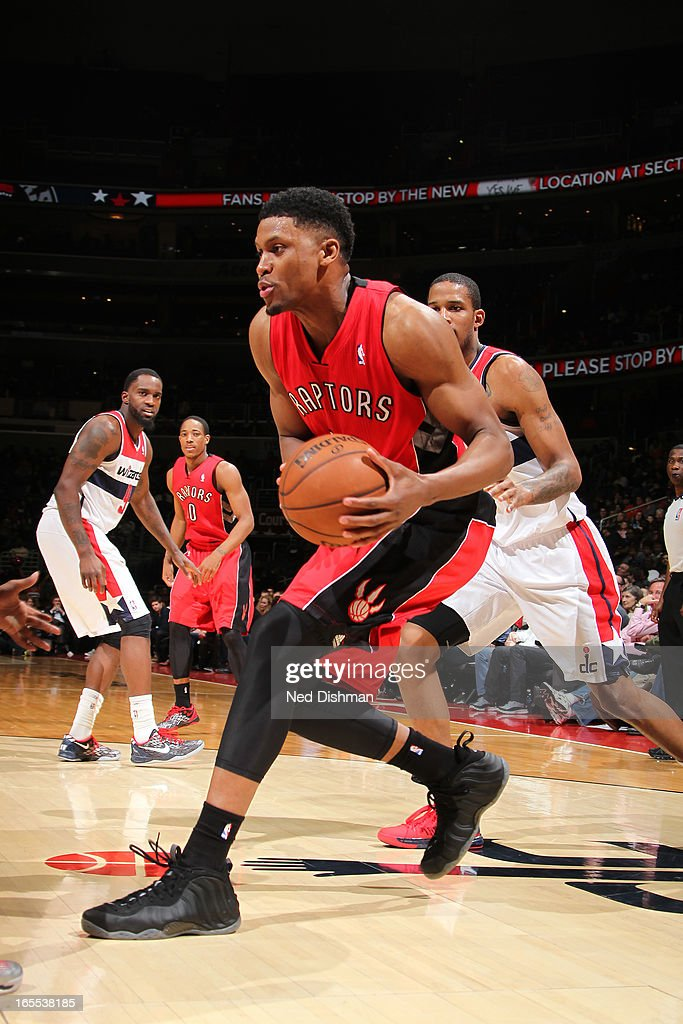 <a gi-track='captionPersonalityLinkClicked' href=/galleries/search?phrase=Rudy+Gay&family=editorial&specificpeople=236066 ng-click='$event.stopPropagation()'>Rudy Gay</a> #22 of the Toronto Raptors drives to the basket against the Washington Wizards at the Verizon Center on March 31, 2013 in Washington, DC.