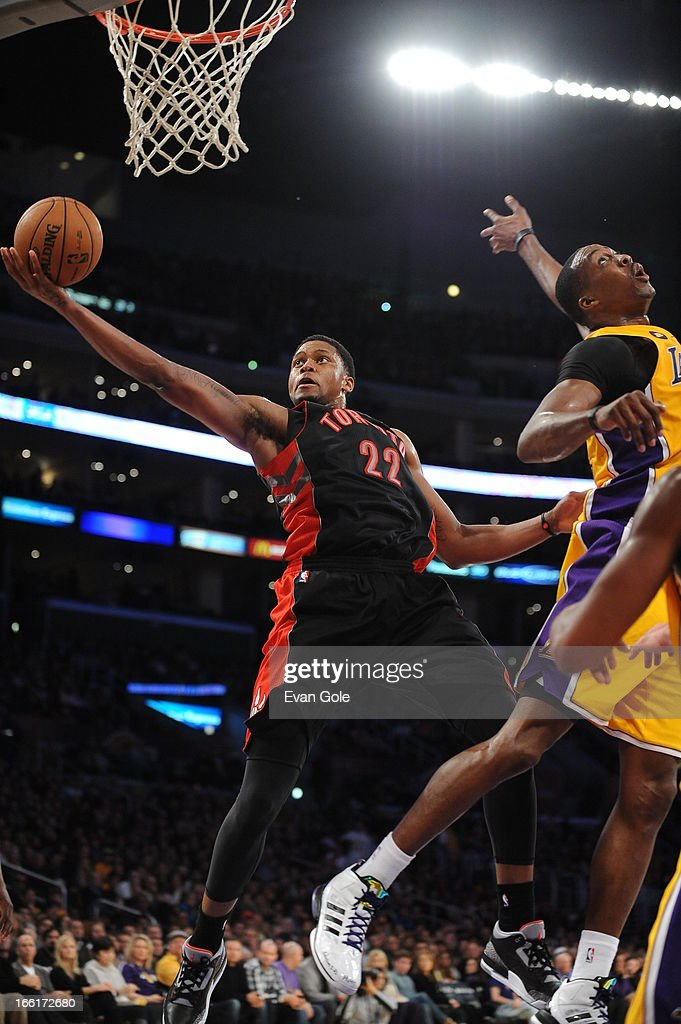 <a gi-track='captionPersonalityLinkClicked' href=/galleries/search?phrase=Rudy+Gay&family=editorial&specificpeople=236066 ng-click='$event.stopPropagation()'>Rudy Gay</a> #22 of the Toronto Raptors drives to the basket against the Los Angeles Lakers at Staples Center on March 8, 2013 in Los Angeles, California.