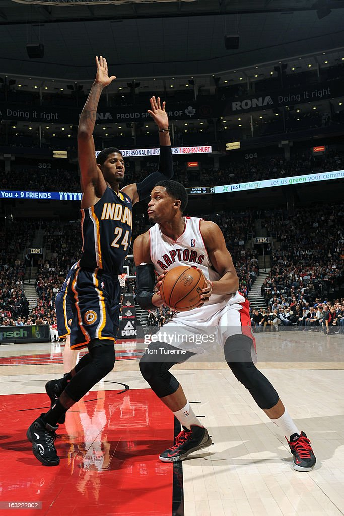 <a gi-track='captionPersonalityLinkClicked' href=/galleries/search?phrase=Rudy+Gay&family=editorial&specificpeople=236066 ng-click='$event.stopPropagation()'>Rudy Gay</a> #22 of the Toronto Raptors drives to the basket against the Indiana Pacers on March 1, 2013 at the Air Canada Centre in Toronto, Ontario, Canada.