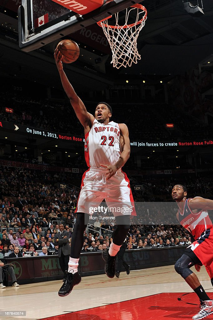 <a gi-track='captionPersonalityLinkClicked' href=/galleries/search?phrase=Rudy+Gay&family=editorial&specificpeople=236066 ng-click='$event.stopPropagation()'>Rudy Gay</a> #22 of the Toronto Raptors drives to the basket against the Washington Wizards on April 3, 2013 at the Air Canada Centre in Toronto, Ontario, Canada.