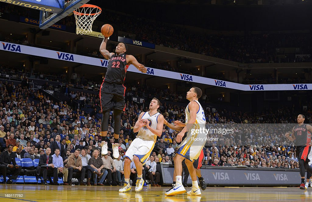 Rudy Gay #22 of the Toronto Raptors dunks against the Golden State Warriors on March 4, 2013 at Oracle Arena in Oakland, California.