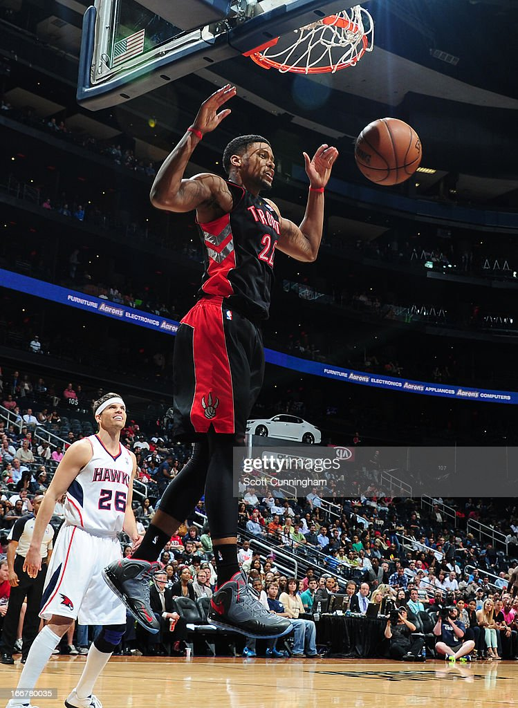 <a gi-track='captionPersonalityLinkClicked' href=/galleries/search?phrase=Rudy+Gay&family=editorial&specificpeople=236066 ng-click='$event.stopPropagation()'>Rudy Gay</a> #22 of the Toronto Raptors dunks the ball against the Atlanta Hawks on April 16, 2013 at Philips Arena in Atlanta, Georgia.