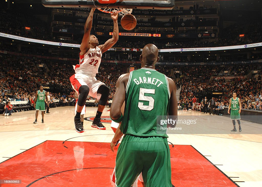 Rudy Gay #22 of the Toronto Raptors dunks the ball during the game between the the Toronto Raptors and the Boston Celtics on February 6, 2013 at the Air Canada Centre in Toronto, Ontario, Canada.