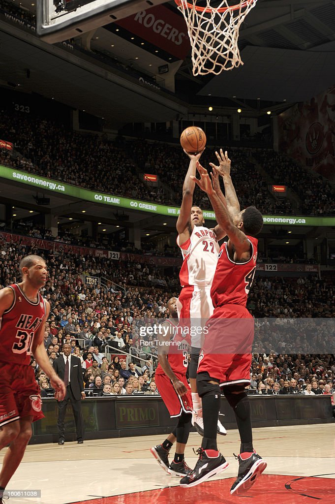 <a gi-track='captionPersonalityLinkClicked' href=/galleries/search?phrase=Rudy+Gay&family=editorial&specificpeople=236066 ng-click='$event.stopPropagation()'>Rudy Gay</a> #22 of the Toronto Raptors goes for a jump shot during the game between the Toronto Raptors and the Miami Heat during the game on February 3, 2013 at the Air Canada Centre in Toronto, Ontario, Canada.