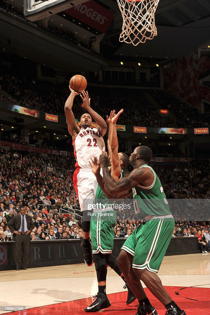 Rudy Gay #22 of the Toronto Raptors goes for a jump shot during the game between the the Toronto Raptors and the Boston Celtics on February 6, 2013 at the Air Canada Centre in Toronto, Ontario, Canada.