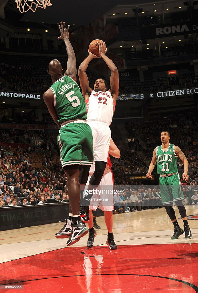 Rudy Gay #22 of the Toronto Raptors goes to the basket against Kevin Garnett #5 of the Boston Celtics during the game between the the Toronto Raptors and the Boston Celtics on February 6, 2013 at the Air Canada Centre in Toronto, Ontario, Canada.