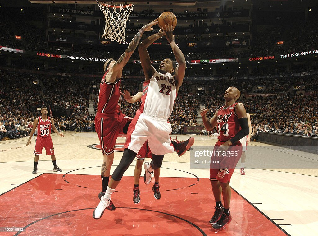 Rudy Gay #22 of the Toronto Raptors goes to the basket during the game between the Toronto Raptors and the Miami Heat during the game on February 3, 2013 at the Air Canada Centre in Toronto, Ontario, Canada.