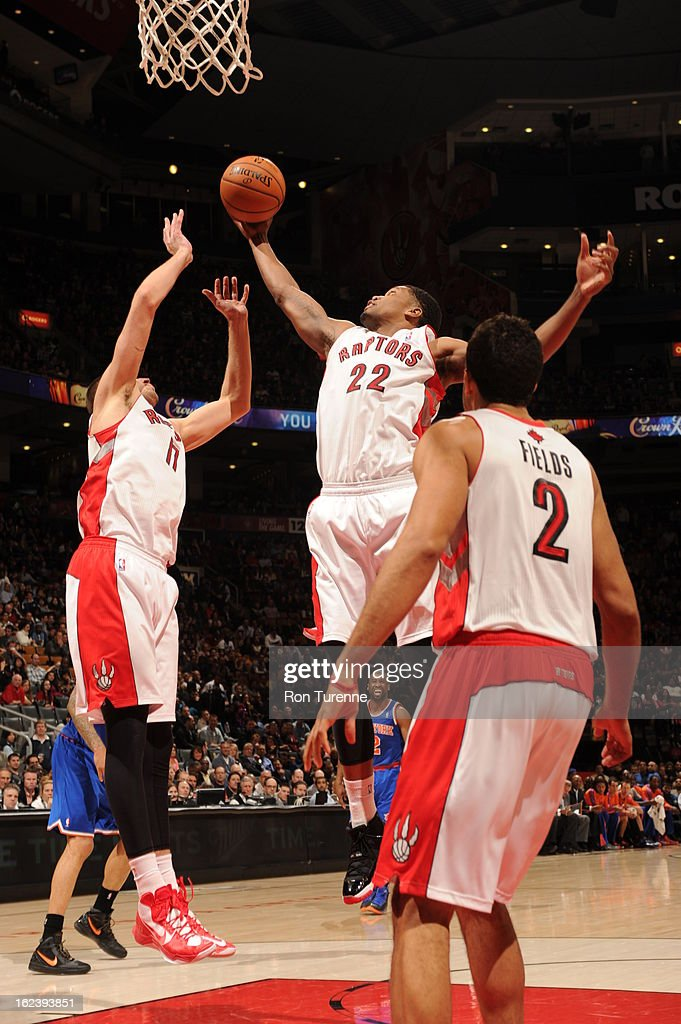 <a gi-track='captionPersonalityLinkClicked' href=/galleries/search?phrase=Rudy+Gay&family=editorial&specificpeople=236066 ng-click='$event.stopPropagation()'>Rudy Gay</a> #22 of the Toronto Raptors grabs a rebound against the New York Knicks on February 22, 2013 at the Air Canada Centre in Toronto, Ontario, Canada.
