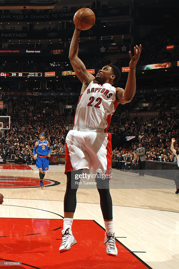 <a gi-track='captionPersonalityLinkClicked' href=/galleries/search?phrase=Rudy+Gay&family=editorial&specificpeople=236066 ng-click='$event.stopPropagation()'>Rudy Gay</a> #22 of the Toronto Raptors grabs a rebound against the New York Knicks on March 22, 2013 at the Air Canada Centre in Toronto, Ontario, Canada.