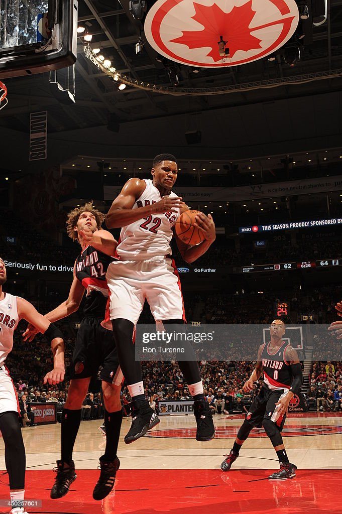 <a gi-track='captionPersonalityLinkClicked' href=/galleries/search?phrase=Rudy+Gay&family=editorial&specificpeople=236066 ng-click='$event.stopPropagation()'>Rudy Gay</a> #22 of the Toronto Raptors grabs a rebound against the Portland Trail Blazers during the game on November 17, 2013 at the Air Canada Centre in Toronto, Ontario, Canada.