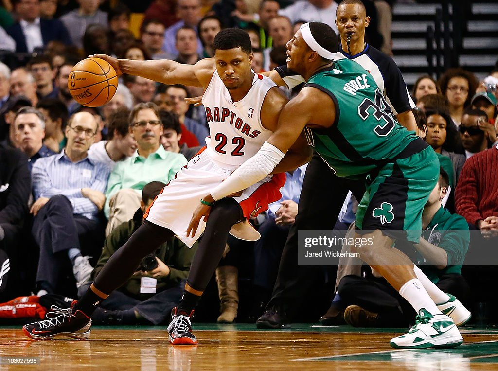 Rudy Gay #22 of the Toronto Raptors handles the ball in front of Paul Pierce #34 of the Boston Celtics during the game on March 13, 2013 at TD Garden in Boston, Massachusetts.
