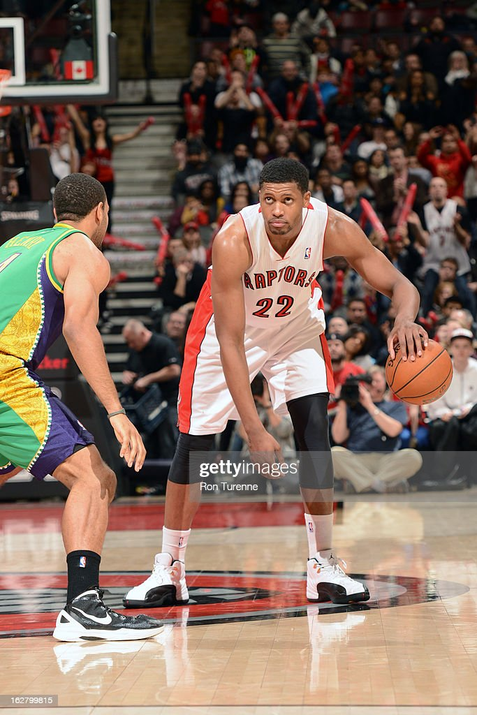 <a gi-track='captionPersonalityLinkClicked' href=/galleries/search?phrase=Rudy+Gay&family=editorial&specificpeople=236066 ng-click='$event.stopPropagation()'>Rudy Gay</a> #22 of the Toronto Raptors looks to drive to the basket against the New Orleans Hornets on February 10, 2013 at the Air Canada Centre in Toronto, Ontario, Canada.