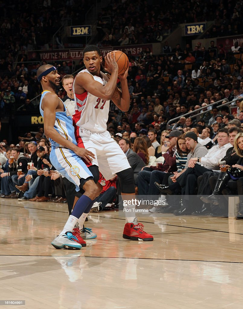 Rudy Gay #22 of the Toronto Raptors looks to pass the ball against the Denver Nuggets during the game on February 12, 2013 at the Air Canada Centre in Toronto, Ontario, Canada.
