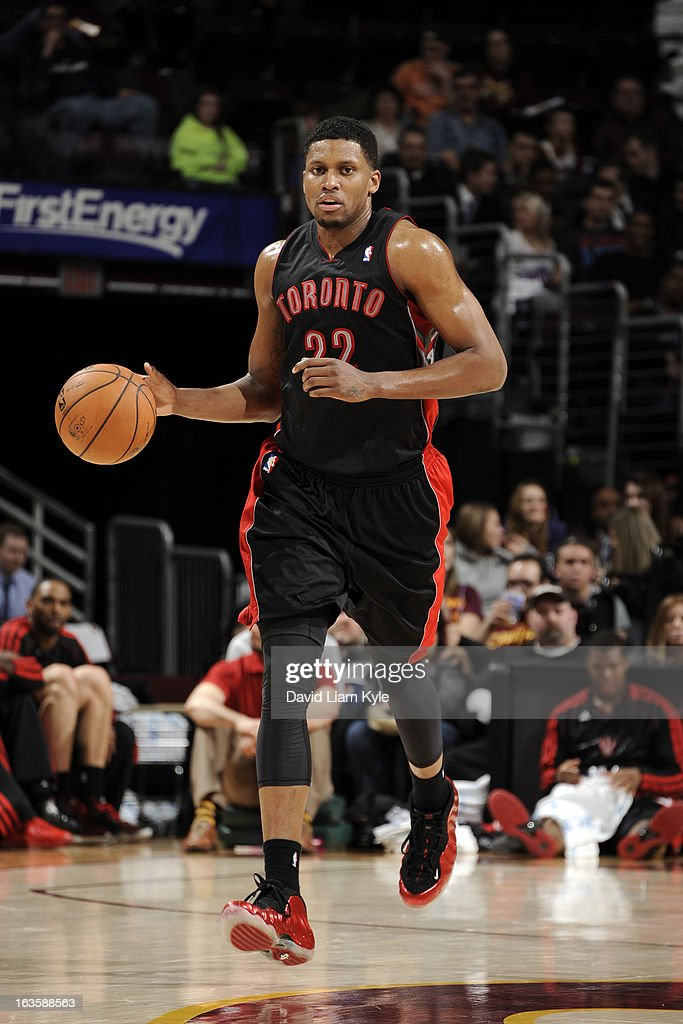 <a gi-track='captionPersonalityLinkClicked' href=/galleries/search?phrase=Rudy+Gay&family=editorial&specificpeople=236066 ng-click='$event.stopPropagation()'>Rudy Gay</a> #22 of the Toronto Raptors moves the ball up-court against the Cleveland Cavaliers at The Quicken Loans Arena on February 27, 2013 in Cleveland, Ohio.